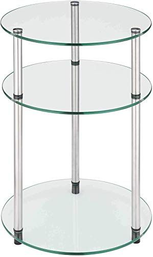 Buy Convenience Concepts Designs2go Go Accsense 3 Tier Round Glass Side Table Clear Glass Online Glass Side Tables Convenience Concepts Side Table