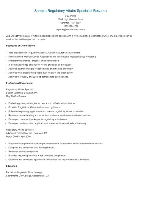 Sample Regulatory Affairs Specialist Resume resame Pinterest - regulatory affairs resume sample