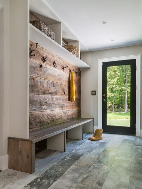 Like the long bench, no cushions. Like plenty of big hooks. Like the open area under bench open for shoes and storage. Like that there is a good amount of space . House Design, Mudroom, House, Home, Home Remodeling, Mudroom Design, New Homes, Home Renovation, Mud Room Storage