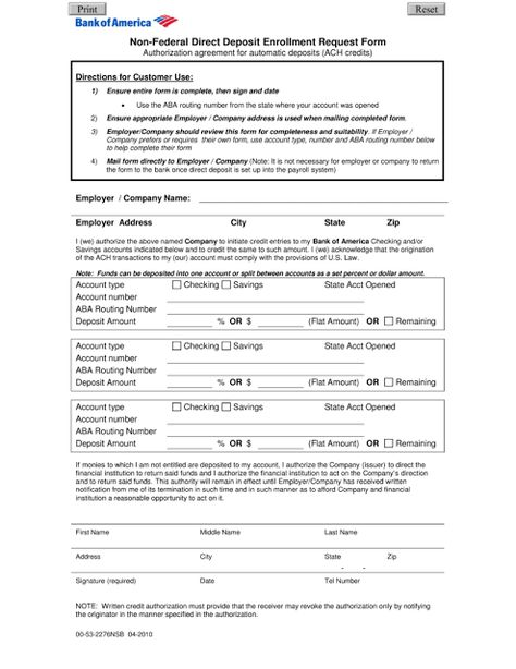Direct Deposit Form  Project Management    Project