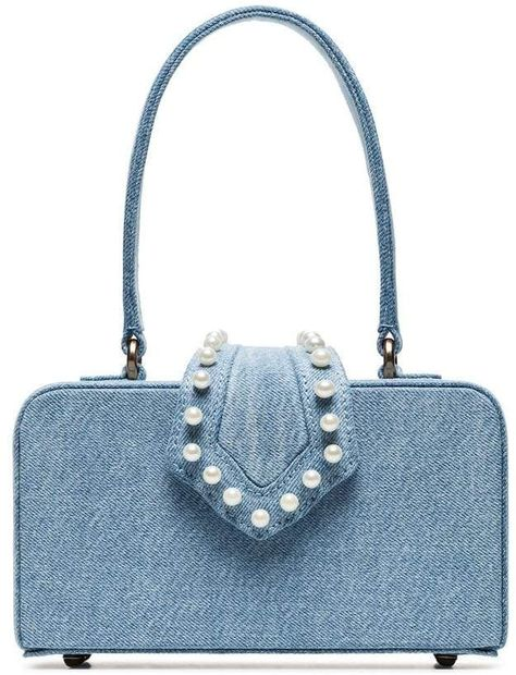 3a506623fd10c  affiliatead -- Mehry Mu blue In The 50s pearl embellished denim box bag --   chic only  glamour always