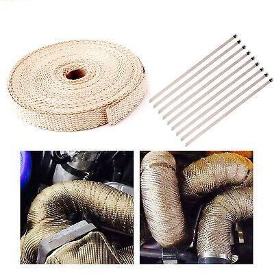 "Black O 2/"" x 50FT Exhaust Header Fiberglass Heat Wrap Tape w// 5 Steel Ties"