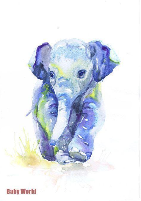 Baby Elefanten Kunstdruck Aquarell Malerei Elefant Baby Boy