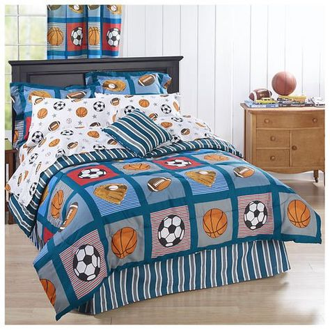 Boys Twin Full Bed Blue Soccer Basketball Football Sports Star 3pc Comforter Set