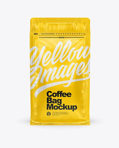 Download Glossy Coffee Bag With Zipper Mockup In Bag Sack Mockups On Yellow Images Object Mockups Bag Mockup Glossier Bag Coffee Bag