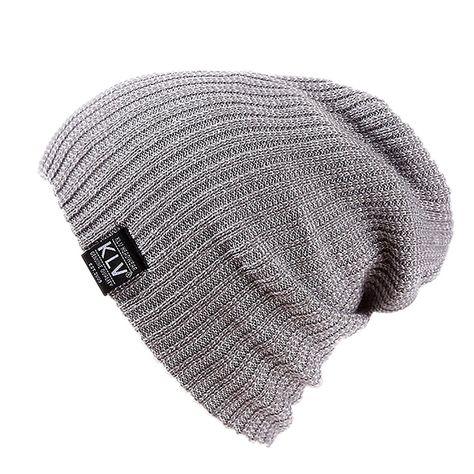 64d15673621 Mens Winter Warm Knitting Hats Wool Baggy Slouchy Skull Cap Knit Beanie Hat  - Light Grey - CQ186LC0NUS - Hats   Caps