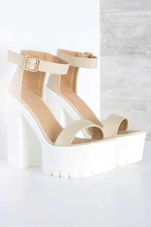 Get a Grip Cleated sole Chunky Heel Sandal Nude