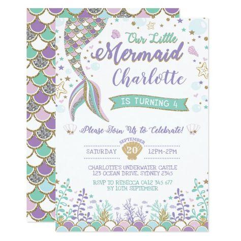Mermaid Invitation Under the Sea Birthday Sparkle #mermaid #invitation #under #the