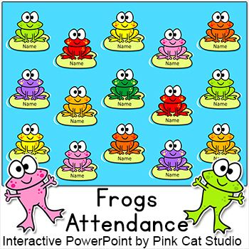 Frog Theme Attendance for All Whiteboards and Smartboards - attendance sheet for students