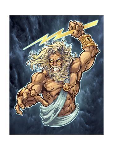 Zeus Full Color Giclee Print Flyland Designs Art Com Zeus Tattoo Greek Mythology Tattoos Mythology Tattoos