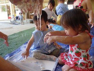 しろ すみれ 1歳児 感触遊び プール おおわだ保育園 子どもたちの