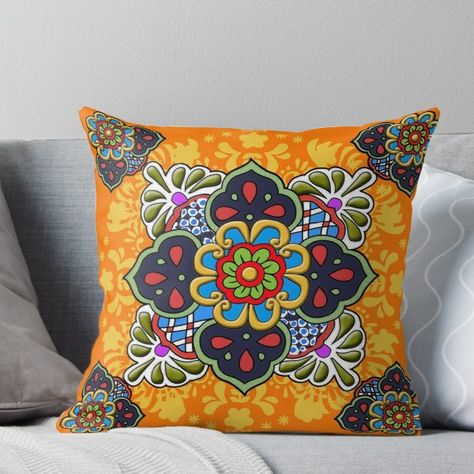 Mexican Talavera Flower' Throw Pillow