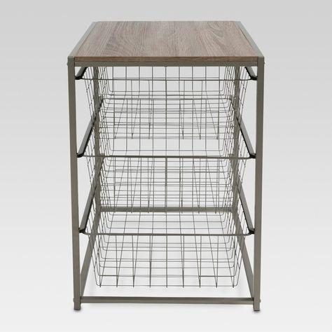 3 Drawer Closet Organizer With Rustic Oak Finish Top Gray Metal - Threshold™ : Target Closet Shelves, Closet Storage, Storage Drawers, Storage Rack, Wire Storage, Metal Drawers, Fabric Storage, Storage Containers, No Closet Solutions