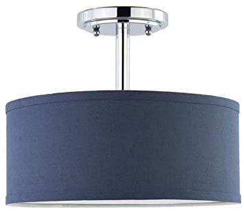 Seenming Lighting 2 Light 12 Dia Fabric Drum Shade Semi Flush Mount Ps Diffuser With Chrome Finish Dark Blue Fabric In 2020 Fabric Shades Drum Shade Chrome Finish