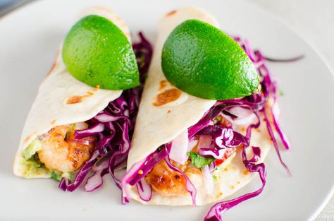 Shrimp tacos! Perfect for this summer: light and brightly colored (bright colors = veggies)