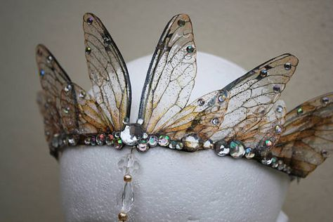 Enchanting and ethereal Fairy Queen Fairy Wing / Bride / Prom / Pagan Tiara / Crown / Head . - Enchanting and ethereal Fairy Queen Fairy Wing / Bride / Prom / Pagan Tiara / Crown / Headdress - Fairy Queen, Fairy Dress, Fairy Hair, Circlet, Tiaras And Crowns, Ethereal, Headbands, Bling, Fairy Costumes