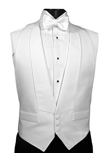 New White Pique fullback Tuxedo Vest Pre tied Bow Tie All Cotton FREE SHIP