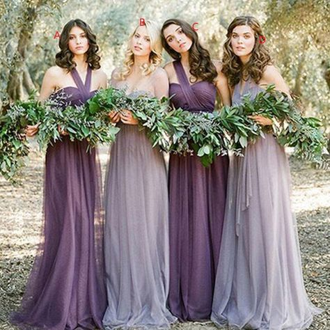 Awesome Long Mismatched Tulle Bohemian Purple Bridesmaid Dresses,Romantic Bridesmaid Dresses,17112001 The long bridesmaid dresses are fully lined, 4 bones in the bodice, chest pad in the bust, lace up back or zipper back are all available, total 126 colors are available. When ordering our store allow you to add a note,please write your requirements in the note. 1.Size: Please refer to the above size chart, You can choose the dress in standard size . We need those measurements:(u can add your siz Lavender Bridesmaid Dresses, Grey Bridesmaids, Mismatched Bridesmaid Dresses, Wedding Dresses, Mermaid Bridesmaid Dresses, Burgundy Bridesmaid, Bridal Party Dresses, Bridesmaid Dress Styles, Tulle Wedding