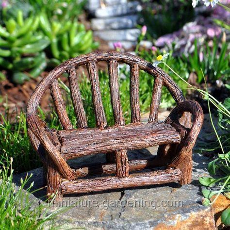 Miniature Gardening Appalachian Bench 8 46 Jardin De Maison Feerique Maisons De Fees Mobilier De Salon