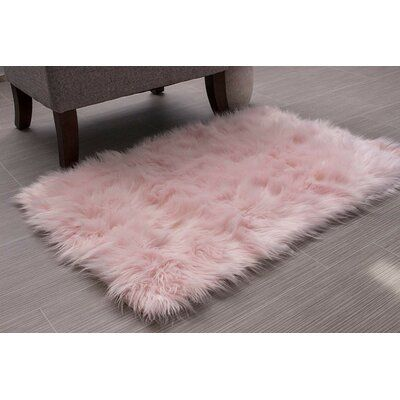 Super Area Rugs Faux Fur Sheepskin Shag Solid Area Rug in Teal