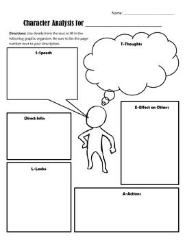 Character Analysis Graphic Organizer Using S T E A L Graphic