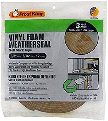 Amazonsmile Frost King V443bh Brown Foam Weather Stripping Tape Adhesive 3 8 X 3 16 17ft Kitchen Dining Weather Stripping Weather Seal Adhesive