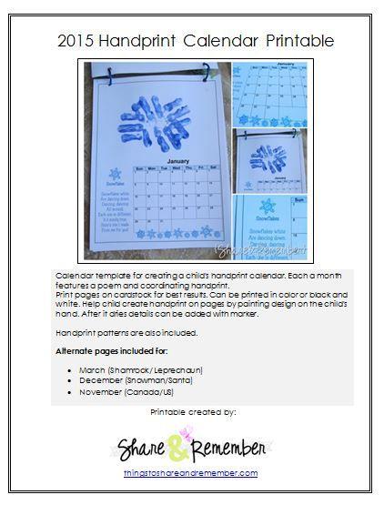 2015 Handprint Calendar Template Printable
