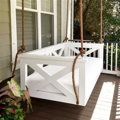 The Peninsula Swing Bed In 2020 With Images Porch Swing Bed Bed Swing Porch Swing