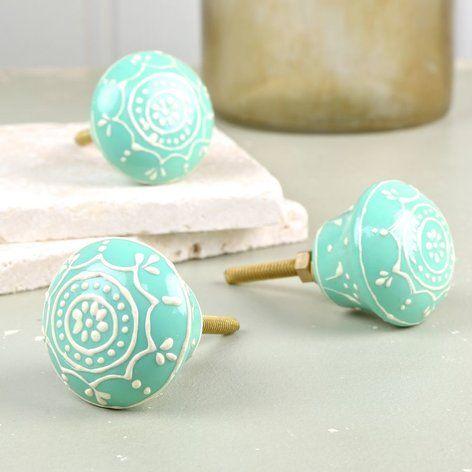 Henna Flower Drawer Knob in Turquoise
