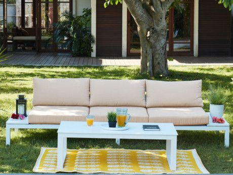 Salon de jardin SERAM en aluminium blanc et coussins beige ...