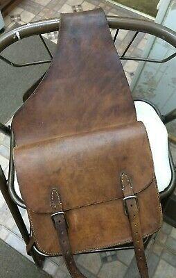 Pair Of Vintage Brown Leather Saddle Bags Horse Motorcycle Bicycle Narrow