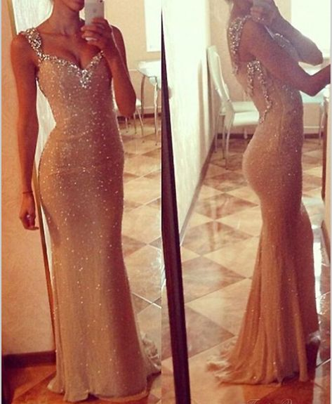 Champagne Long Sequins and Crystal Backless Prom Dress