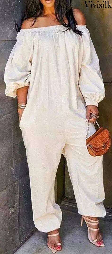 Plus Size Jumpsuit, Jumpsuit With Sleeves, Casual Wear, Casual Outfits, Mother Daughter Fashion, Plus Size One Piece, Elastic Waist Pants, Casual Jumpsuit, Wholesale Clothing