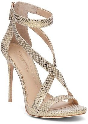 e03f99e40e1c Imagine VINCE CAMUTO Devin Snake Embossed High Heel Ankle Strap Sandals  Soft Gold