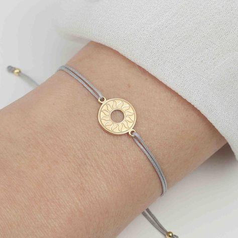 Kugelarmband 925 Silber vergoldet Gold Taupe | Armband