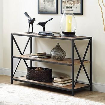 W Trends 40 3 Shelf Metal And Wood X Frame Media Bookshelf