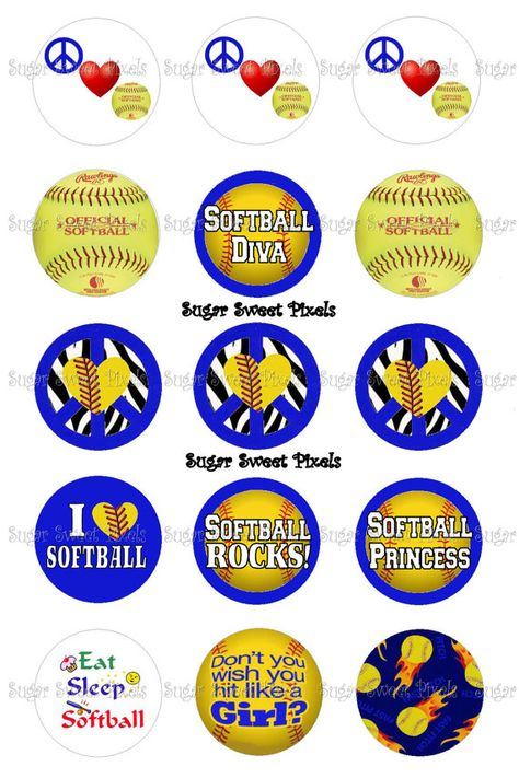 INSTANT DOWNLOAD blue Softball themed 1 inch by sugarnspicebow