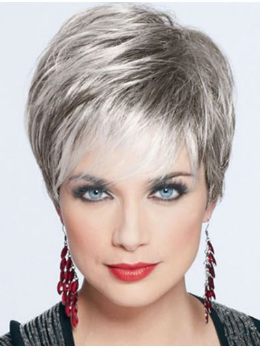 Trendy Straight Cropped Synthetic Grey Wigs, Short Grey Wig Usa