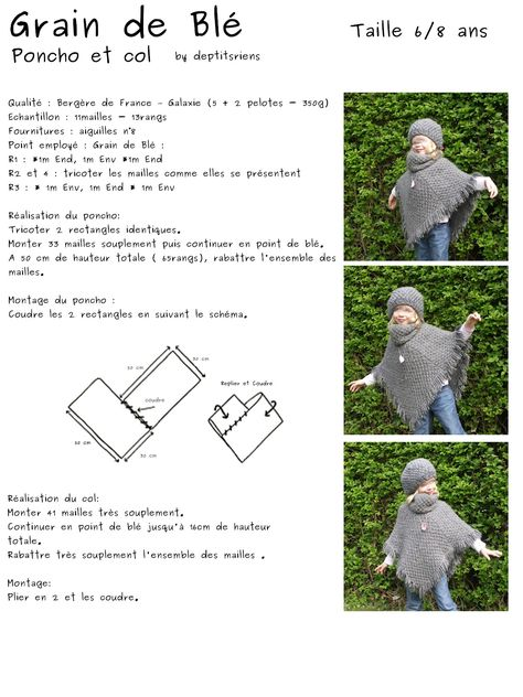 Tricoter Un Poncho Du 2 Ans : tricoter, poncho, Devoir, Vacances, L'ensemble, Poncho, Modele, Tricot,, Tricot, Pancho