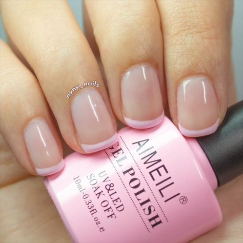 I know you usually do normal French manicure, but how about a pink one? It's gonna be gorgeous too! And you can do other color French manicures of course! #aimeili #aimeiligelpolish #gelnailpolish #nailpolish #gelnails #nails #nailarts #nailartdesigns #gelmanicure #nailpro #nailstyle #manicurepedicure #frenchmanicure #howto
