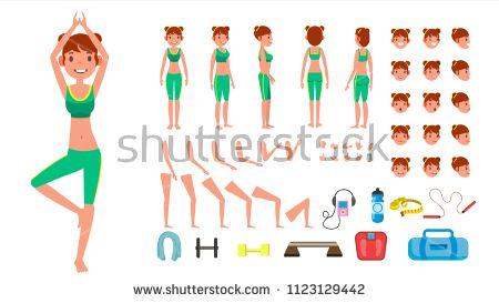 Yoga Woman Vector Prenatal Yoga Animated Character Creation Set Woman Full Length Front Side Back View Acces Prenatal Yoga Yoga Women Animated Characters