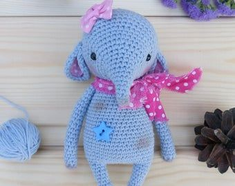 Crochet Elephant Stuff Animal - Miniature Elephant Amigurumi ... | 270x340
