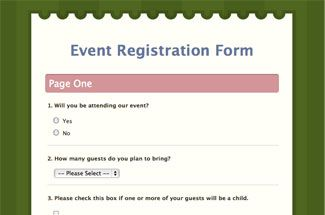 online registration form templates