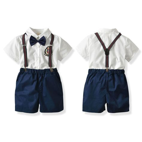 66e77eb41dc Summer Baby Boy Clothing Set Newborn Infant Clothing 2pcs Short Sleeve T- shirt + Bow tie+Suspenders Gentleman Shorts Suit -- BuyinCoins.com
