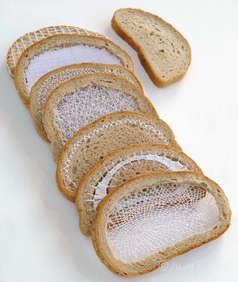 ADVERTISEMENT ADVERTISEMENT Terézia Krnáčová embroidered bread slices that symbolize the days of the week. I am in awe. My concept is an expression of my personal relationship with textiles. I love textile art and I can't … Sculpture Textile, Textile Fiber Art, Textile Artists, Textile Tapestry, Art Du Pain, Bread Art, Textiles Techniques, Art Techniques, Slice Of Bread