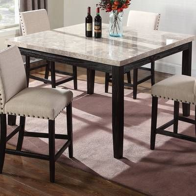Arick Square Marble Top Counter Height Dining Table Counter