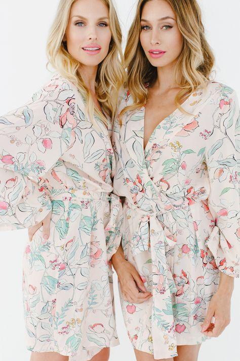 c92d98bb18 Babesmaids twinning in Plum Pretty Sugar s for BHLDN Alodie Rhymed in Prose  robes. Shop at www.PlumPrettySugar.com.