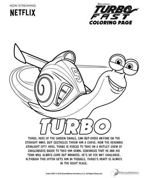8 coloring pages httpwwwdreamworkstvcomshowsturbo fast