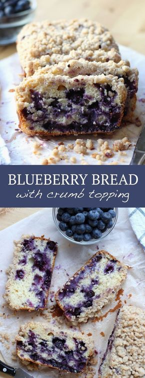 Blueberry Bread with Crumb Topping. Breakfast or dessert? You decide! SO delicious! #blueberry #bread #crumbtopping #crumbtop