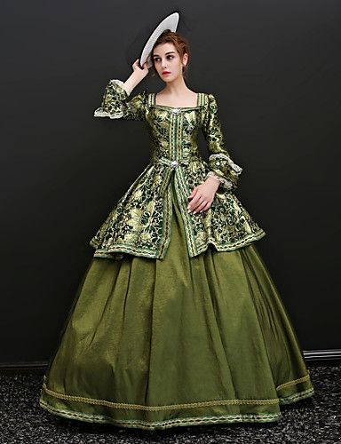 687937090795 Rococo Lace Up Victorian Costume Women's Dress Party Costume Masquerade  Ball Gown Green / Blue Vintage